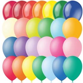 Воздушные шары, 100шт., М12/30см, Поиск, ассорти, пастель+декор 4607028763304