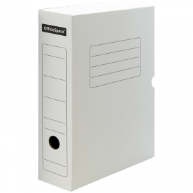 Короб архивный с клапаном OfficeSpace, микрогофрокартон, 75мм, белый 158553/A-GBL75C_371