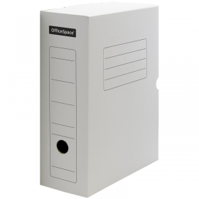 Короб архивный с клапаном OfficeSpace, микрогофрокартон, 100мм, белый 178838