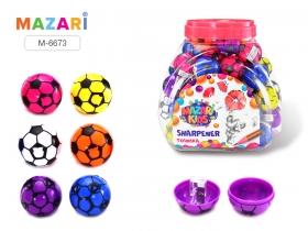 Точилка пластиковая, BALL, 1 отверстие для заточки, с контейнером , ассорти 6 цветов, M-6673