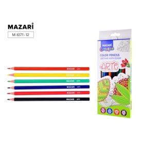 Карандаши  12 цветов  пластиковые ARTE, шестигранный корпус,d грифеля=2.6 мм, M-6171-12