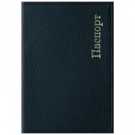 """Обложка для паспорта OfficeSpace """"Комфорт"""" кожзам, черный, тиснение золотом 254213"""