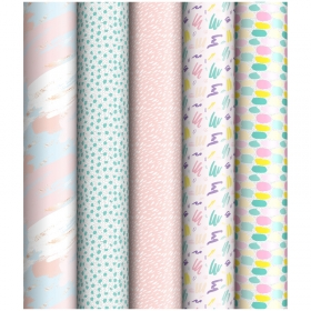 """Упаковочная бумага глянц. 70*100см, ArtSpace """"Pastel"""", 1 лист, 65г/м2, ассорти 5 дизайнов ПБ100м_218"""