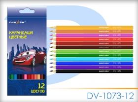 """Карандаши  12 цв """"Darvish"""" """"Машинка"""" корпус пластиковый шестигранный DV-1073-12"""