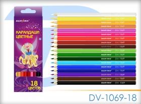 """Карандаши 18цв """"Darvish"""" """"Бабочки"""" корпус пластиковый шестигранный (набор) DV-1069-18"""