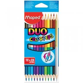 "Карандаши ""Color Peps"" 24цв., 12шт., двусторонние, трехгран., заточен., картон. уп., 829600"