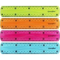 "Линейка  20см пласт. цветная прозрачная мягкий пластик ""Darvish"" DV-7273 гибкая"