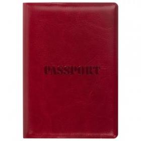 """Обложка для паспорта STAFF, полиуретан под кожу, """"ПАСПОРТ"""", бордовая, 237600"""