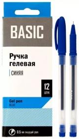 Ручка гелевая синяя, пиш.узел=0,5мм, BASIC, полупрозрачная, игольч. стержень 016019-02