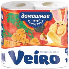 """Полотенца бумажные в рулонах Veiro """"Домашние"""", 2-х слойн., 12,5м/рул, белые, 2шт. 3П22"""