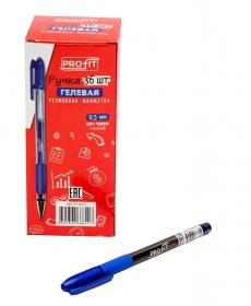 Ручка гелевая СИНЯЯ (РГ-6833) d=0,5, с полупрозрач корп и резиновым держателем, кратно 36