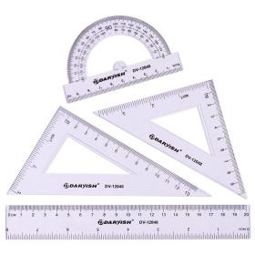"""Набор геометр. """"Darvish"""" 4 предмета (линейка20см+транспортир+2треугольника) DV-12048"""