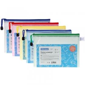 Папка-конверт на молнии OfficeSpace, А5, 250мкм, сетка, прозрачная, ассорти 285837
