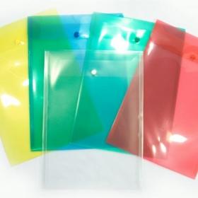 Конверт на кнопке вертикальный А4, ВЕРТИКАЛЬНЫЙ, 245х340, 180мкм б/цветный  КНК-180-С4