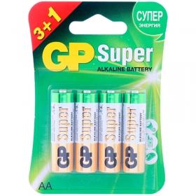 Батарейка GP Super AA (LR06) 15A алкалиновая, BC4 (промо 3+1) GP 15A3/1-2CR4