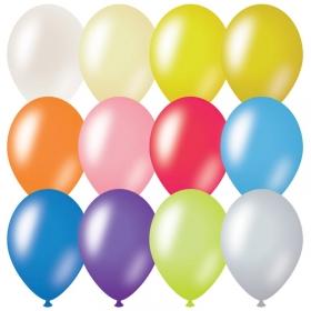 Воздушные шары, 100шт., М9/23см, MESHU, металлик, 12 цветов ассорти MS_31621