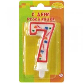 """Свеча для торта с держателем """"Цифра 7. Красное конфетти"""", 8 см"""