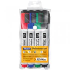 Набор маркеров для белых досок на магнитах OfficeSpace, 4цв., пулевидный, 3мм, чехол 268350