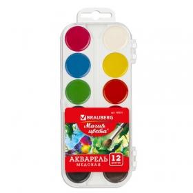 Краски акварельные BRAUBERG, 12цв, медовые, пластиковая коробка, без кисти, 190551