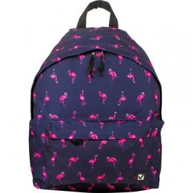 """Рюкзак BRAUBERG универсальный, сити-формат, синий, """"Фламинго"""", 20 литров, 41х32х14 см, 226404 226404"""