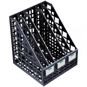 Лоток для бумаг вертикальный Стамм, сборный, 5 отделений, черный ЛТ85