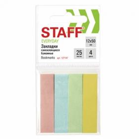 Закладки клейкие STAFF EVERYDAY, бумажные, 12*50 мм, 4цв.*25 л., европодвес, 127147
