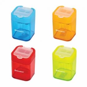 Точилка BRAUBERG с контейнером, пластиковая, прямоугольная, 2 отверстия, цвет ассорти, 226945