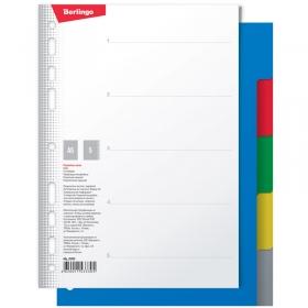 Разделитель листов Berlingo А5, 5 листов, без индексации, цветной, пластиковый ARp_05030