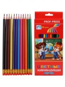Карандаши цветные пластиковые с ластиком 12цв.  (КЦ-5388) гриф.d=2,65мм, кратно 24