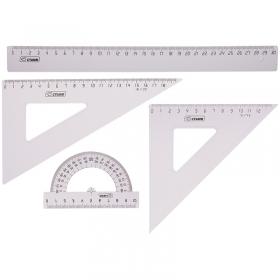 Набор чертежный большой Стамм, (треуг. 2шт., линейка 30см, транспортир), прозрачный бесцветный НГ15