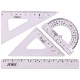 Набор чертежный малый Стамм, (треуг. 2шт., линейка 16см, транспортир), прозрачный, бесцветный НГ11