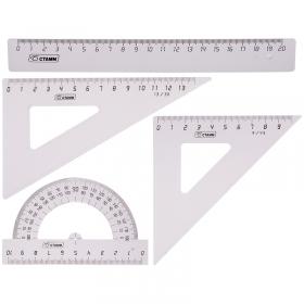 Набор чертежный средний Стамм, (треуг. 2шт., линейка 20см, транспортир), прозрачный бесцветный НГ13