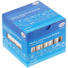 Мелки белые Гамма, 100шт., мягкие, круглые, картонная коробка 2308194