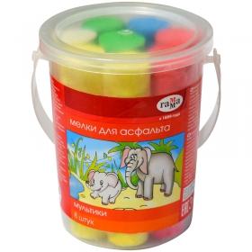 """Мелки цветные для асфальта Гамма """"Мультики"""", 8шт., 5цв., круглые, пластиковое ведро 1704191"""