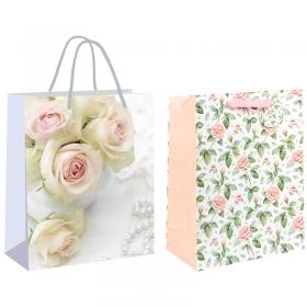 """Пакет подарочный 26*32,4*12,7см, Veld-co """"Белые розы"""", ламинированный 48601"""