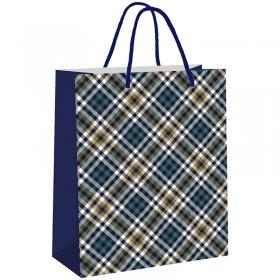 """Пакет подарочный 26*32,4*12,7см, Veld-co """"Шотландка синяя"""", ламинированный 48603"""