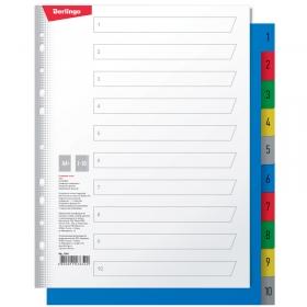 Разделитель листов Berlingo А4+, 10 листов, цифровой 1-10, цветной, пластиковый ARp_14040