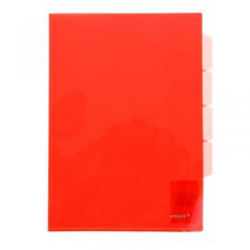 """Папка-уголок A4 с 3-мя отделениями прозрачная красная 0.18 мм """"Proff"""" CH410-TF-01"""