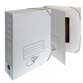 Папка архивная из микрогофрокартона на резинках, ширина корешка 100 мм, белый