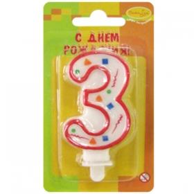 """Свеча для торта с держателем """"Цифра 3. Красное конфетти"""", 8 см"""
