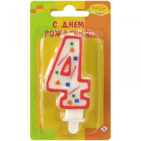 """Свеча для торта с держателем """"Цифра 4. Красное конфетти"""", 8 см"""