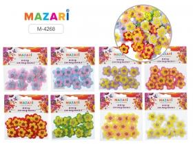Декоративные элементы РОМАШКИ, 12 шт, лавсан, пластик, ассорти 8 цветов M-4268