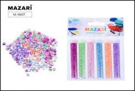Набор бисера, 6 цветов х 8 г, в пластиковых тубах, ОПП-упаковка с европодвесом M-9807 цена за 6 шт