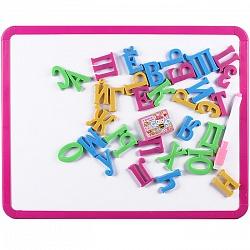 Набор для детей 2 в 1 (доска для рисованиядвусторонняя 35*28см+буквы+маркер+губка) DV-10252