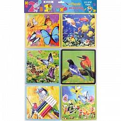 Набор для детей 2 в 1 (пазл и раскраска+фломастеры) DV-9747