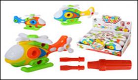 Игрушка-конструктор ВЕРТОЛЁТ пластиковая с набором отверток, 21х11см, в картонном дисплее AN 333