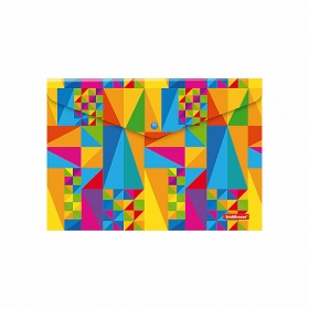 Папка-конверт на кнопке пластиковая  ErichKrause® Arlecchino, A4  (в пакете по 12 шт.) 47059