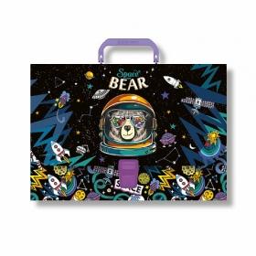 Портфель пластиковый ErichKrause® Space Bear, A4 (в пакете по  1шт.) 47867