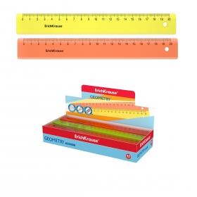 Линейка пластиковая ErichKrause® Neon, 20см, ассорти из 2 цветов, в коробке-дисплее 49507