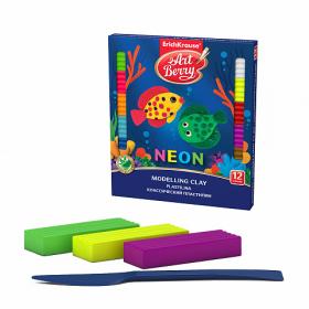 Классический пластилин ArtBerry® с Алоэ Вера Neon 12 цветов, 180г (коробка) 46982